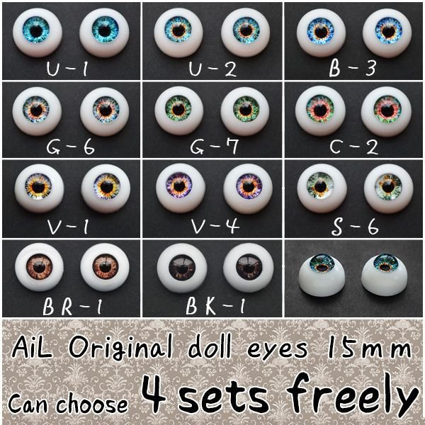 Photo1: Free shipping!!  AiL Original doll eyes   Can choose 4sets freely 15mm